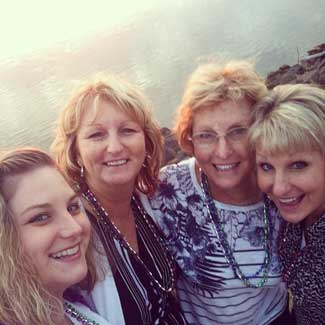 Mary (2nd from right) on a beach trip with her girls last year