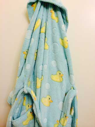 The Duck robe Lynn bought in Eugene before the Rose Bowl
